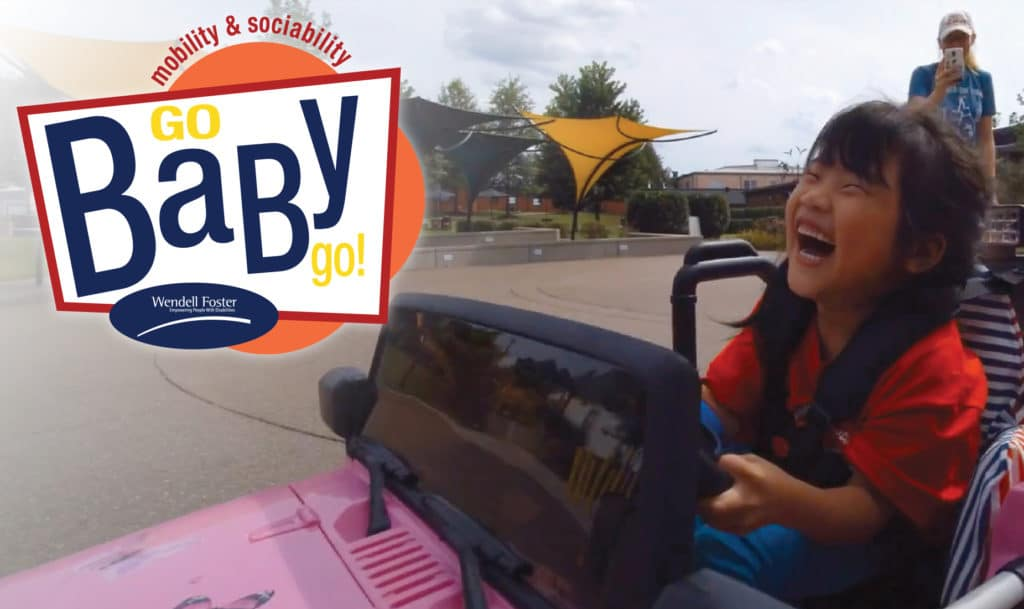 GoBabyGo Logo and Young girl driving